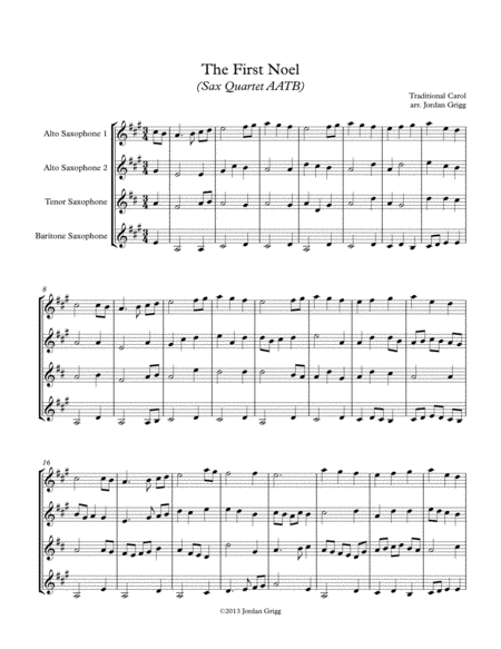 The First Noel (Sax Quartet AATB)