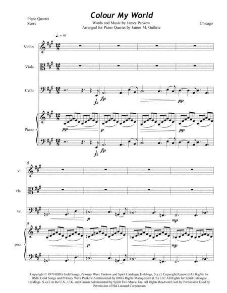 Chicago: Colour My World for Piano Quartet