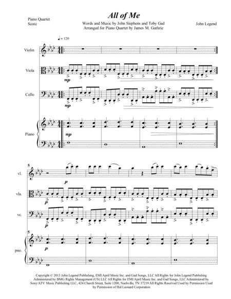 John Legend: All Of Me for Piano Quartet