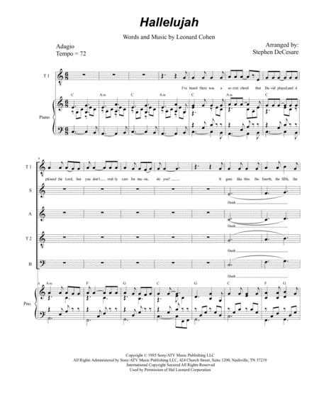 Hallelujah (for Vocal Quintet - SATTB)