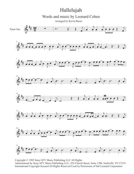 Hallelujah - Tenor Sax