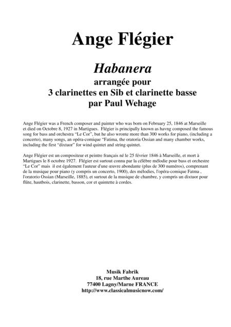 Ange Flégier: Habanera, arranged for 3 Bb clarinets and bass clarinet
