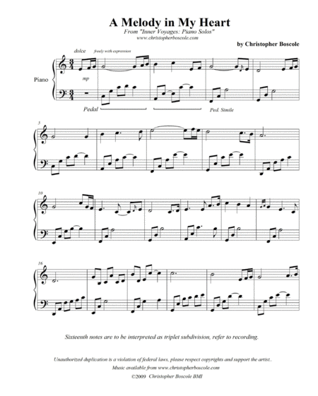 A Melody in My Heart Piano Solo by Christopher Boscole