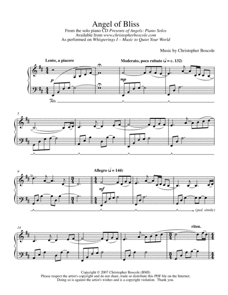 Angel of Bliss Piano Solo by Christopher Boscole