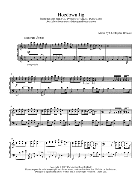 Hoedown Jig Piano Solo by Christopher Boscole