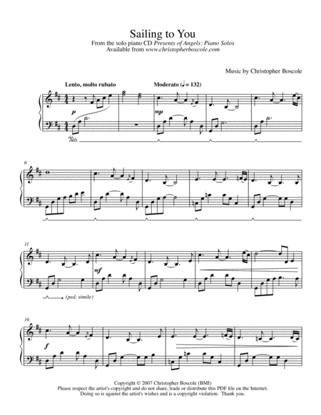 Sailing to You Piano Solo by Christopher Boscole