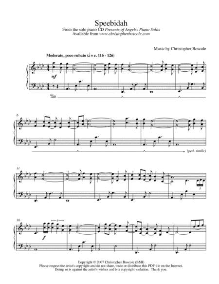 Speebidah Piano Solo by Christopher Boscole