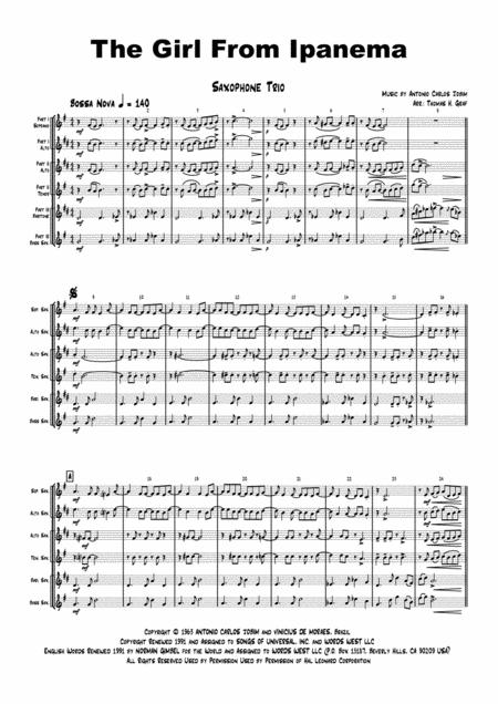 The Girl From Ipanema (Garota de Ipanema) - Jobim - Bossa Nova - Saxophone Trio