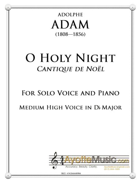 O Holy Night / Cantique de Noel for Medium High Voice in Db Major