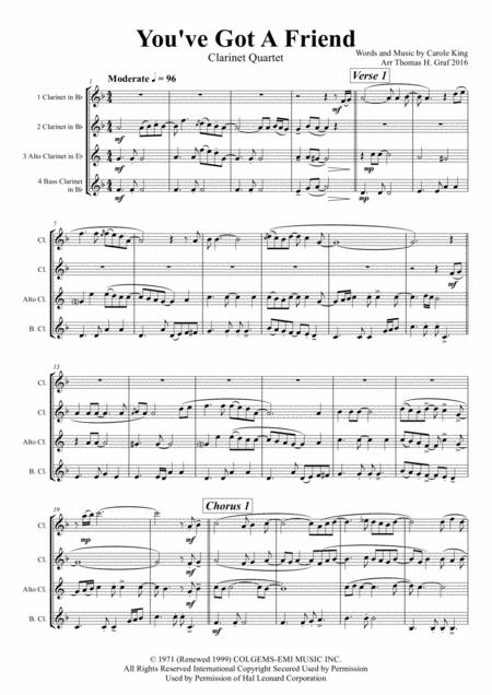 You've Got A Friend - Carole King - Clarinet Quartet