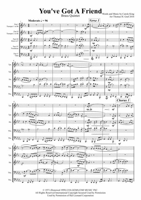 You've Got A Friend - Carole King - Brass Quintet