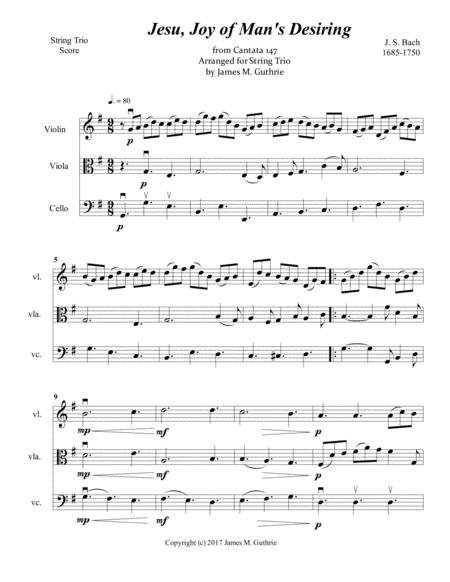 Jesu, Joy of Man's Desiring for String Trio