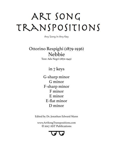 Nebbie (in 7 keys: G-sharp, G, F-sharp, F, E, E-flat, D minor)