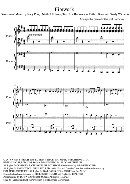 Firework, Katy Perry - PIANO DUET - 4 hands 1 Piano