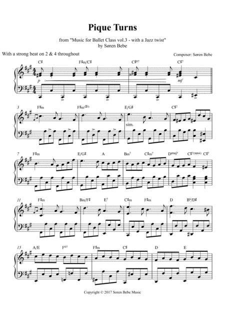 Pique Turns - Sheet Music for Ballet Class - from
