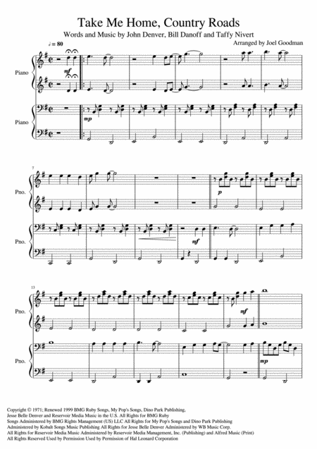 Take Me Home, Country Roads - PIANO Duet 4 hands 1 piano