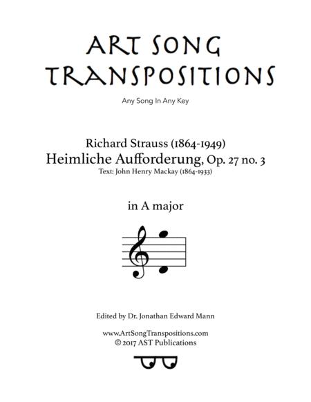 Heimliche Aufforderung, Op. 27 no. 3 (A major)