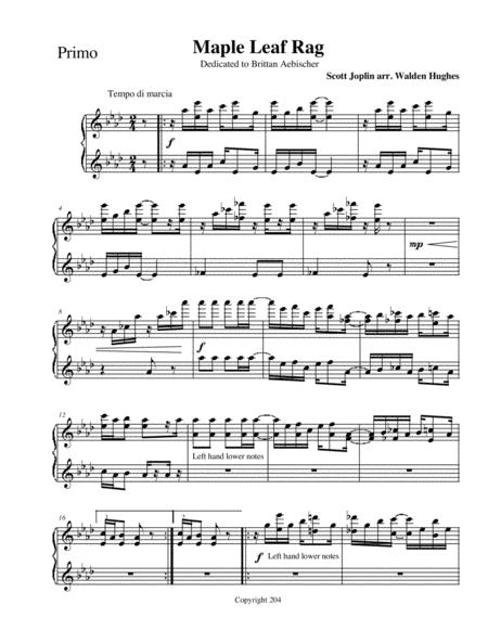 Joplin's Maple Leaf Rag Piano Duet (1 Piano 4 Hands)