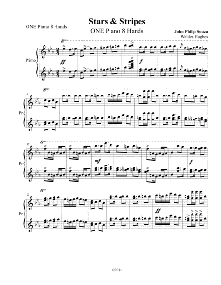 Stars & Stripes Forever ONE Piano 8 Hands
