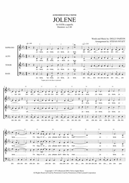 Jolene - SATB a cappella