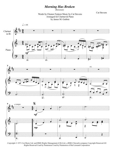 Cat Stevens: Morning Has Broken for Clarinet & Piano