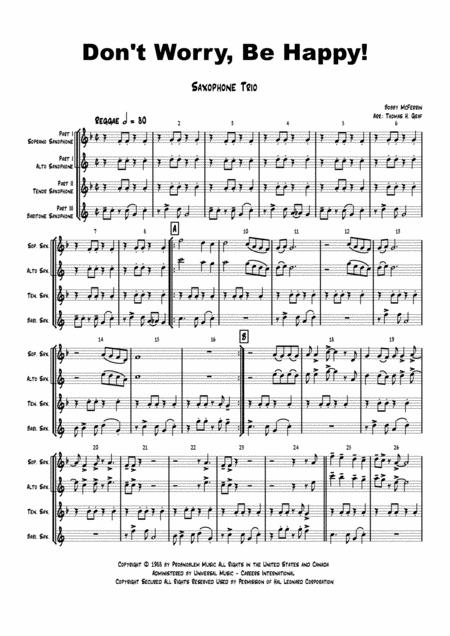 Don't Worry, Be Happy! - Bobby McFerrin - Saxophone Trio