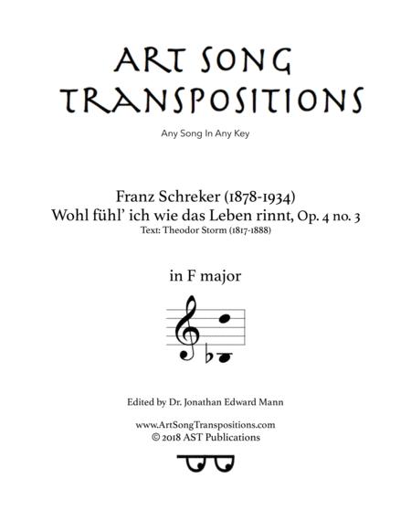 Wohl fühl ich, wie das Leben rinnt, Op. 4 no. 3 (F major)