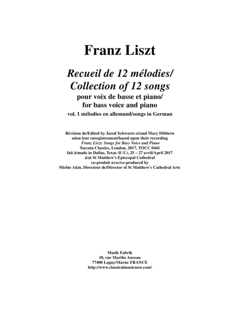 Franz Liszt: Songs for bass voice and piano - Vol. 1 Songs in German
