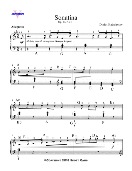 Sonatina, Op. 27, No. 11  (with piano fingering)