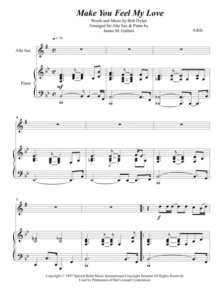 Adele: Make You Feel My Love for Alto Sax & Piano