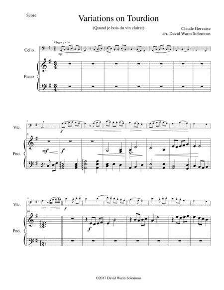 Tourdion (Quand je bois du vin clairet) for cello and piano