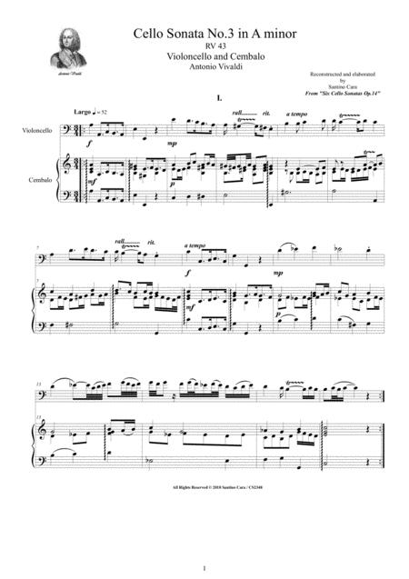 Vivaldi - Cello Sonata No.3 in A minor Op.14 RV 43 for Cello and Cembalo (or Piano)