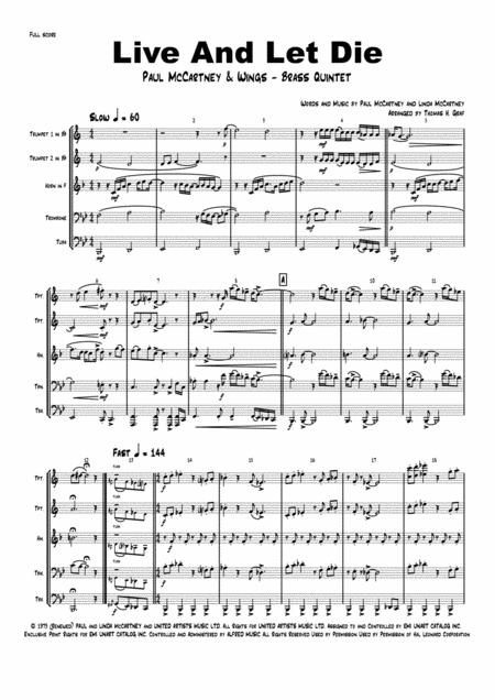 Live and let die - Paul McCartney - Brass Quintet