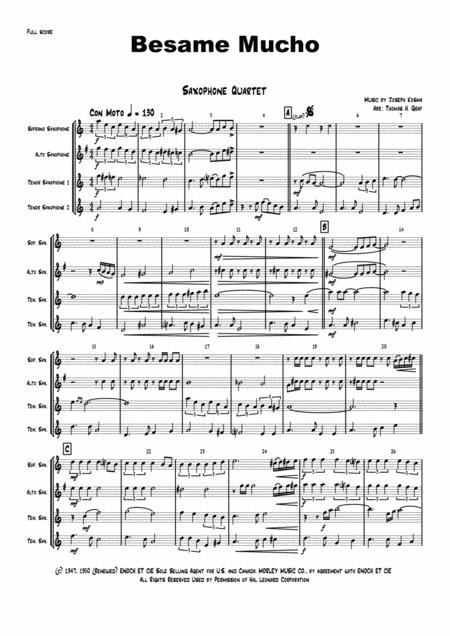 Besame Mucho ( Kiss me a lot ) - World famous Rumba - Saxophone Quartet