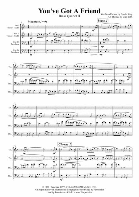 You've Got A Friend - Carole King - Brass Quartet H