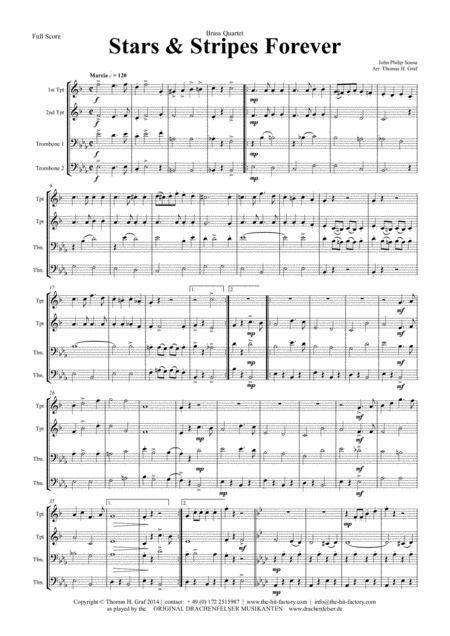 Stars and Stripes forever - Sousa - Brass Quartet H - Arrangement: Thomas H. Graf