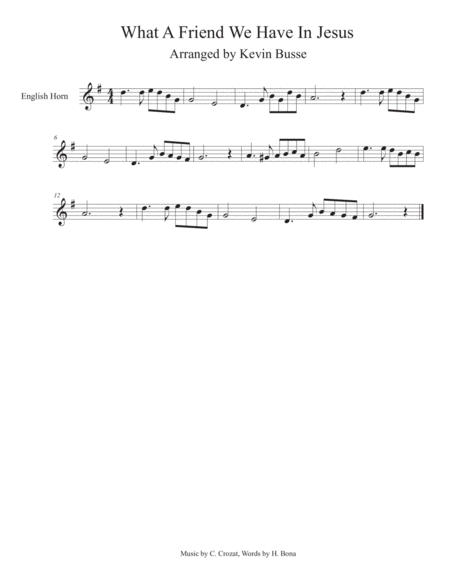 What A Friend We Have In Jesus - English Horn