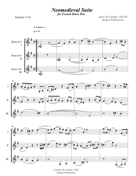 Guthrie: Neomedieval Suite for French Horn Trio