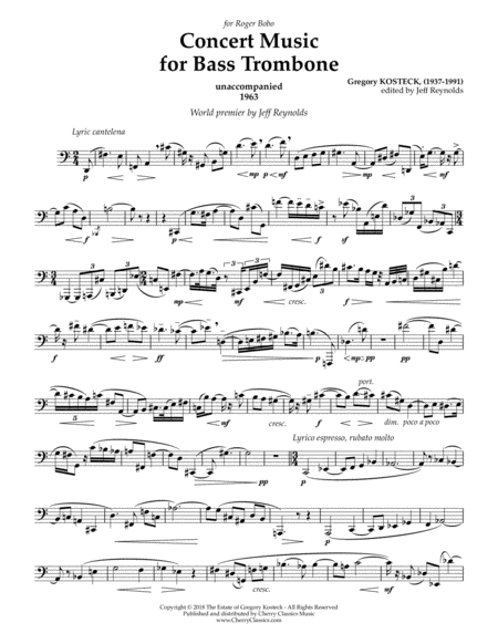 Concert Music for Unaccompanied Bass Trombone