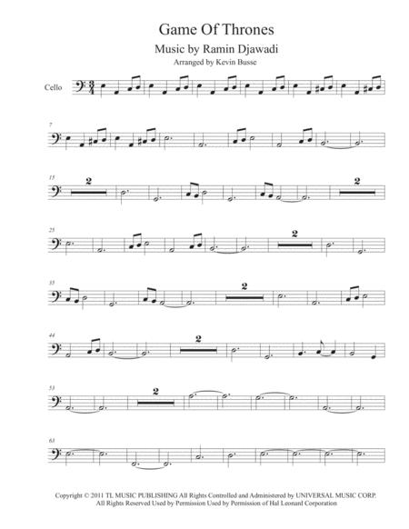 Game Of Thrones (Easy key of C) - Cello