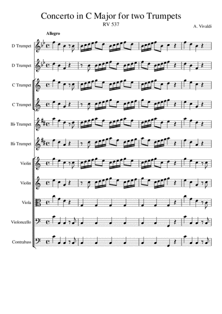 Concerto for Two Trumpets in C major RV537  - Antonio Vivaldi - Score and Parts - Trumpets in Bb, C and D