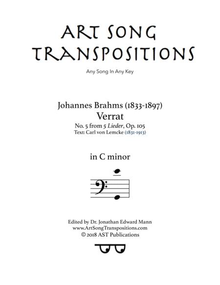 Verrat, Op. 105 no. 5 (C minor, bass clef)