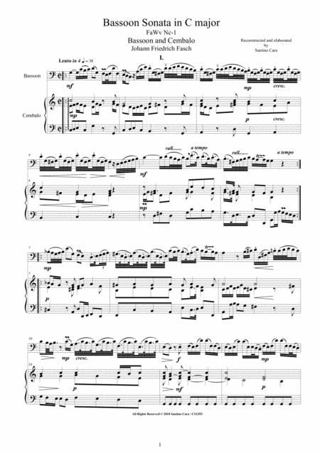 Fasch - Bassoon Sonata in C major FaWv Nc-1 for Bassoon and Cembalo (or Piano)