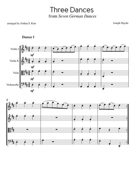 Three Dances from Seven German Dances by J. Haydn for String Quartet