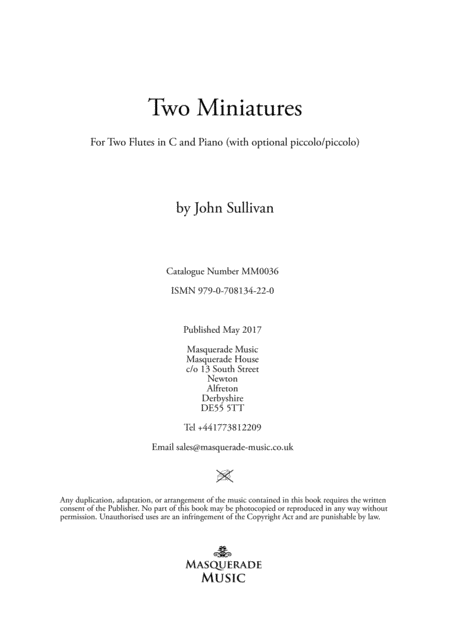 Two Miniatures for 2 Flutes and Piano (with optional piccolo duet)