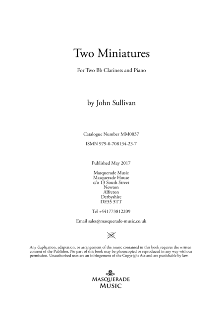 Two Miniatures for 2 Clarinets (Bb) and Piano