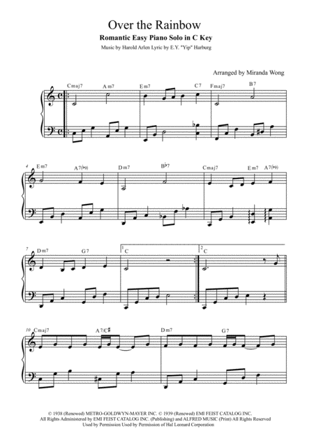 Over The Rainbow (from The Wizard Of Oz) - Easy Piano Solo in C Key
