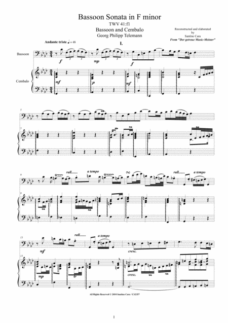 Telemann - Bassoon Sonata in F minor TWV 41f1 for Bassoon and Cembalo (or Piano)