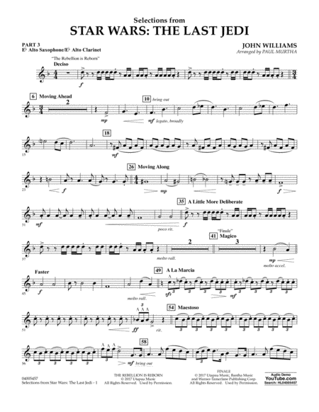 Selections from Star Wars: The Last Jedi - Pt.3 - Eb Alto Sax/Alto Clar.