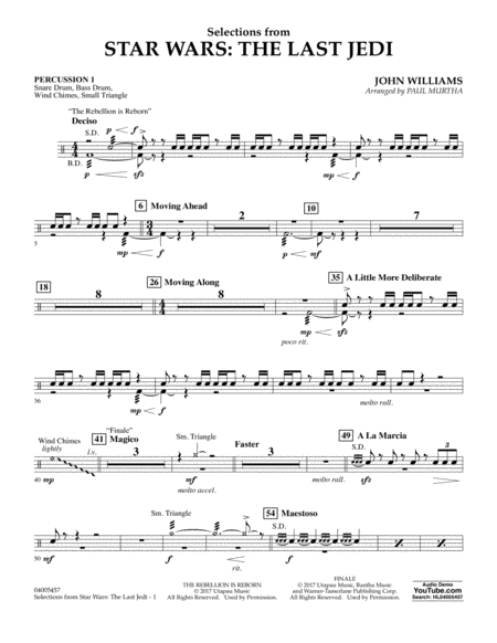 Selections from Star Wars: The Last Jedi - Percussion 1